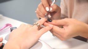 Manicure a la hembra del artista que hace la manicura profesional en salón del balneario almacen de video