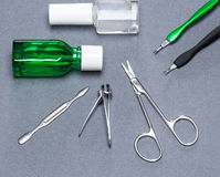 Manicure las herramientas y los productos del cosmético para el cuidado de la cutícula Fotografía de archivo