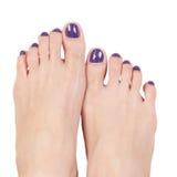 Manicure los clavos y el pie de la mujer, color púrpura en el fondo blanco imágenes de archivo libres de regalías
