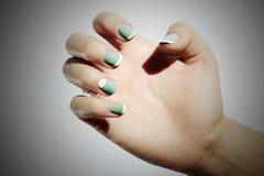 manicure Mãos fêmeas na mulher do salão de beleza polimento da goma-laca nomes imagem de stock royalty free