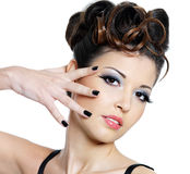 Manicure and make-up. Fashion manicure and bright make-up for young beautiful woman - isolated royalty free stock photos
