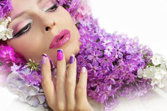 Manicure and makeup with phloxes. royalty free stock photography