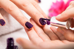 Manicure making in beauty spa salon Stock Photos