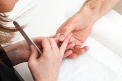 Manicure in manicure room Stock Photos