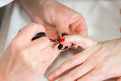 Manicure. Master applies varnish drawing on nails gel in spa . Closeup finger nail care by specialist in beauty salon. Manicure. Master applies varnish drawing royalty free stock photography