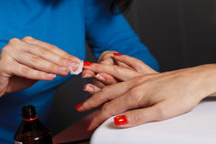 Manicure master at work Stock Images