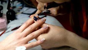 Manicure master works with client stock video footage