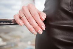 Manicure. Modern manicure work shown on a womans hands Stock Image