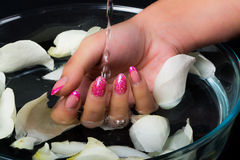 Manicure and nail art. In spa Stock Photography
