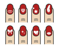Manicure with nail art vector icons set Stock Photos