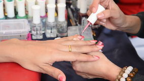 Manicure nail paint. stock video