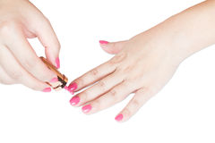 Manicure nail paint pink color Stock Image