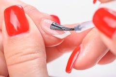 Manicure nail transparent painting Stock Photos