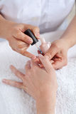 Manicure o processo. Salão de beleza de beleza. Fotos de Stock Royalty Free