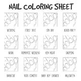 Manicure options coloring sheet, black and white. Color styles f. Or different occasions: wedding, first date, baby shower, work etc. Coloring template for girl Royalty Free Stock Photo