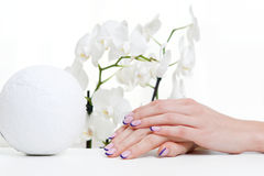 Manicure, orchid and decoration element Stock Photography