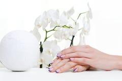 Manicure-, orchid- och garneringelement Arkivbild