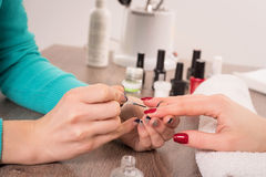 Manicure, painting on nail Royalty Free Stock Images
