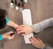 Manicure, painting on nail Stock Photo