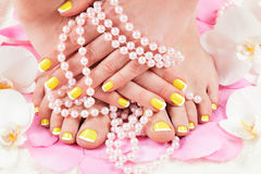Manicure and pedicure. Beautiful manicure and pedicure. See my other works in portfolio royalty free stock image