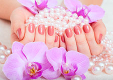 Manicure and pedicure. Body care, spa treatments royalty free stock photos
