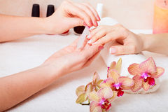 Manicure and pedicure. Body care, spa treatments stock photos