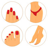 Manicure, pedicure and bodycare concept. Icon set Royalty Free Stock Photo