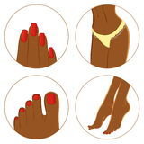 Manicure, pedicure and bodycare concept. Icon set Royalty Free Stock Photography