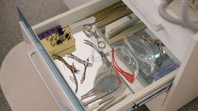 Manicure and pedicure equipment in a drawer stock video