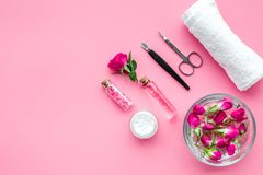Manicure and pedicure equipment for nail bar set on rose background top view mockup. Manicure and pedicure equipment for nail bar set on rose table background royalty free stock photos