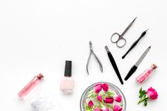 Manicure and pedicure equipment for nail bar set on white background top view mockup. Manicure and pedicure equipment for nail bar set on white table background stock photos