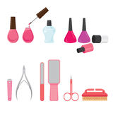 Manicure and pedicure equipments set Stock Image