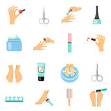 Manicure And Pedicure Flat Icons Set Stock Photos
