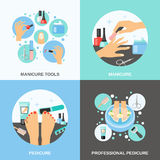 Manicure Pedicure 4 Flat Icons Square Stock Photography