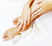 Manicure pedicure with flower lily close up isolated on white pe royalty free stock photography