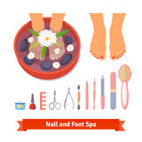 Manicure pedicure foot spa beauty care set Royalty Free Stock Photos