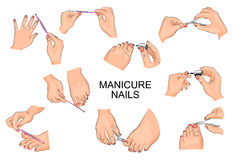 Manicure and pedicure hands feet, nails Royalty Free Stock Photography