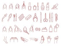 Manicure and pedicure icons vector set Stock Photography