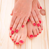 Manicure and pedicure. red Royalty Free Stock Images