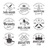 Manicure and pedicure salon vector black emblems. Manicure and pedicure salon set of vector monochrome emblems, labels, badges isolated on white background. Nail royalty free illustration