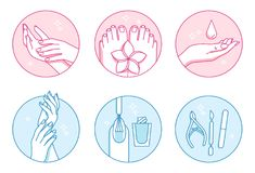 Manicure and pedicure salon vector icons set Royalty Free Stock Images