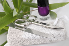 Manicure/pedicure tools. Including a silver file and scissors, sitting on white pumice, next to a bottle of nail polish and green leaves. Isolated on a white stock photo