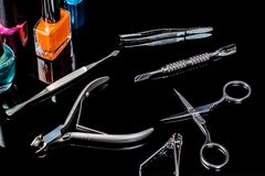 Manicure and pedicure tools on black background, . Equipment for beauty shop, cosmetic salon or beauty parlour. Manicure stock photos