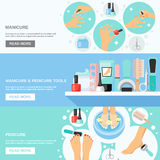 Manicure Pedicure Tools 3 Flat Banners. Manicure pedicure nails file callus removing tools kit and information 3 flat banners webpage design vector illustration vector illustration
