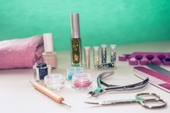 Manicure and pedicure tools for nail art, glitter. Stock Image