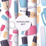 Manicure and pedicure tools seamless pattern set for nail studios. Background with products for fingernails and nail art stock illustration