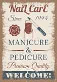 Manicure and pedicure vintage colored poster. Retro style stock illustration
