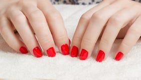 Manicure - piękna traktowania ładni robiący manikiur kobieta paznokcie z czerwonym gwoździa połyskiem fotografia Fotografia Stock