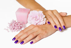 Manicure, pink flower, candle, beads royalty free stock image