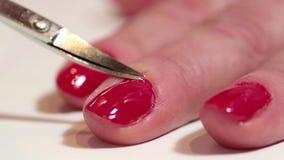 Manicure procedure in beauty salon stock footage
